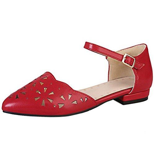 TAOFFEN Damen Freizeit Fesselriemen Flach Pumps Schuhe Ausgeschnitten Sandalen Rot