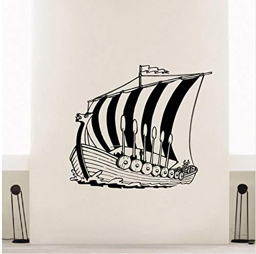 66X57cm Home Decor Vinyl Aufkleber Alte Viking Schiff Wandtattoo Poster Meer Stil Wandkunst Vinyl Aufkleber Für Wände