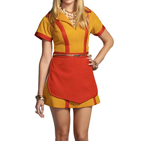 Women Kellnerin Kostüm Diner Uniform mit Schürze Kleid (Kostüme Kellnerin Diner)