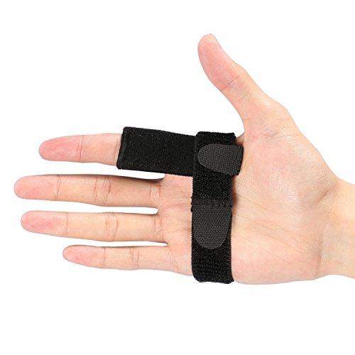 Doact Einstellbare Trigger Finger Schiene für Finger Steifigkeit mit extra Haken & Loop Tape Fit alle Finger, Klick & Popping Schmerzlinderung von Stenose Tenosynovitis, Schwarz, One Size (Haut-klammer Entfernen)