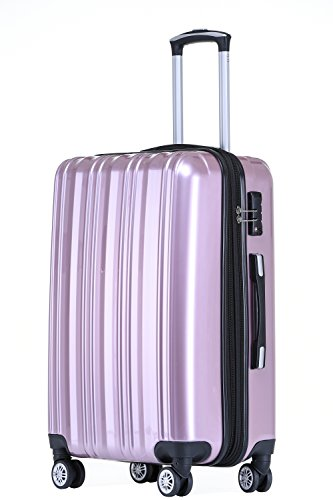 Münicase Münicase- Hartschalen Koffer Reisekoffer Trolley Rollkoffer Polycarbonat TSA-Schloß Kofferset Gepäckset (Rosa, Großer Koffer (ca.76cm))