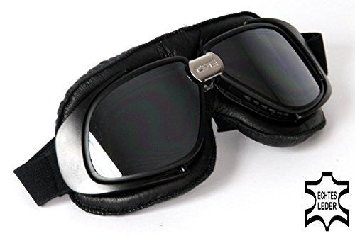 Qubeat Motorradbrille Classic, ECHT Leder, schwarz mit verspiegelten Gläsern