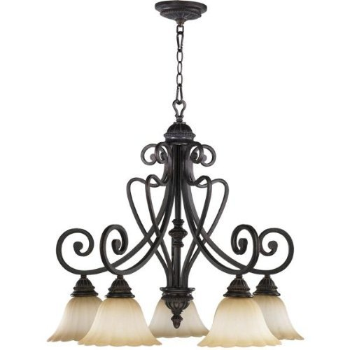 Quorum International 6326-5-44 Chandeliers with Antique Amber Scavo Shades, Toasted Sienna by Quorum