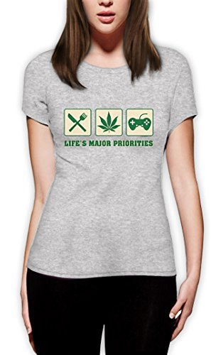 life´s major priorities high Quality very comfortable Frauen T-Shirt Grau
