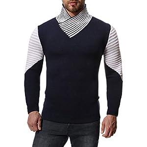 Amphia Herren-Pullover, Herren Herbst Winter Mode gestrickt Runde Kragenpullover warme Decklack
