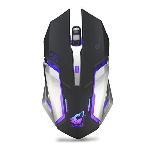 Peepheaven X7 Ergonomische Gaming Mouse 6 Tasten Leuchtende 2.4G Wireless Computer Mouse - Schwarz