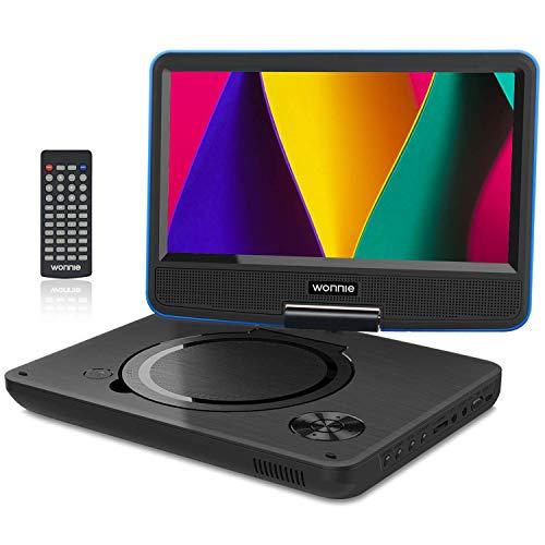 """WONNIE 11.5"""" Lecteur DVD Portable avec écran Rotatif de à 270°,Carte SD et Prise USB avec Charge directe Formats/RMVB / AVI / MP3 / JPEG, Parfait pour Enfants (Bleu)"""