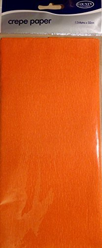 Crepe Paper Orange 1.5m x 50cm by County (Wrap Crepe)