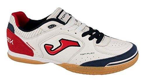 Joma Top Flex, Chaussures de Futsal Mixte Adulte Blanc (White-red)