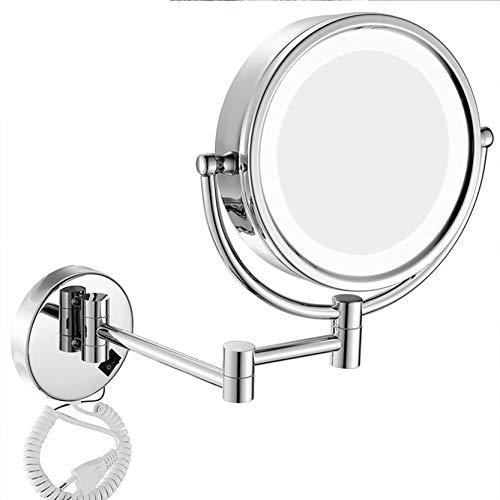ROWERR 7X Magnification Wall Mount Makeup Vanity Mirror mit LED-Licht, Lighted Makeup Mirror Tabletops Lighted Mirror, poliert Chrome Finish und 8 Inch Double Sided Swivel,5X -