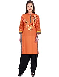 Vaidiki Designer Orange Coloure Embroidered Printed Cotton Kurti With Black Patiala Readymade Suit For Women's
