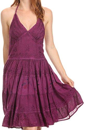 Sakkas 161110 - Laye Short Einstellbare Halter Top gestickte Blumen Batik Kreis Kleid - Plum - 1X / 2X