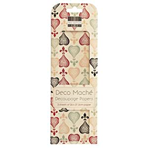Motif filigrane Rose Deco Mache Lot de 3 feuilles de Papier de soie Craft Trimcraft