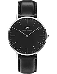 Daniel Wellington Classic Sheffield Orologio Uomo, 40mm, in Pelle, Nero/Argento