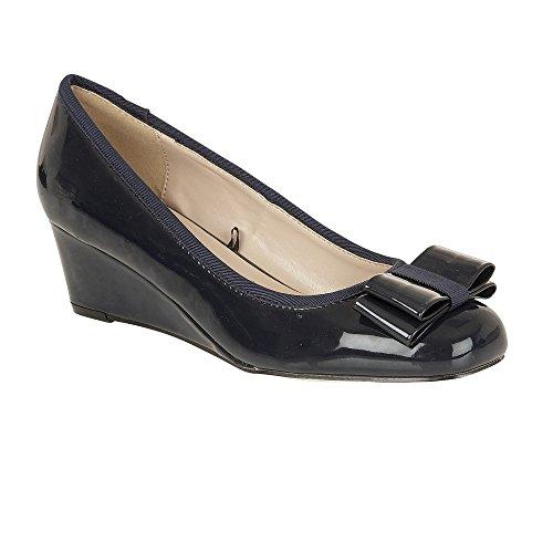 Lotus Asela Navy Shiny Wedge Ballerina Shoes 4