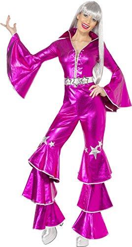 Kostüm 1970 Party (1970er Tanz-Traum Damenkostüm Rosa enthält Schnür-Jumpsuit,)