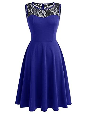 Dressystar DS0004 Spitze Kleid Damen Vintage Kleid Brautjungfernkleid 50er Rockabilly Rundhals Schwarz Royalblau M