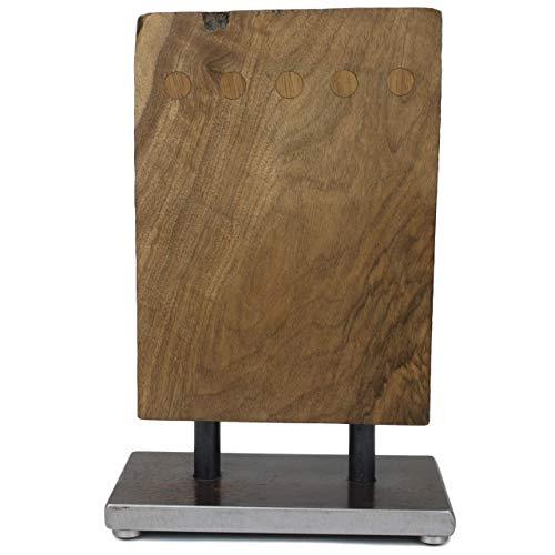 cleenbo Messerblock groß aus Holz, magnetisch aus handgearbeitetem kaukasischem Nussbaum, Block mit...