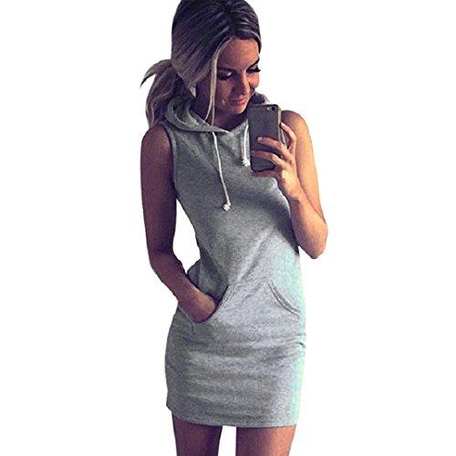 Kleid damen mini Kolylong Frauen Sommer Baumwollmischung Sleeveless Hoody Kleid (M, Grau)