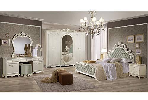 ITALIE FPM THEMA - Juego de Dormitorio Barroco con Armario de 6 Puertas + Cama 160/200 + 2 mesitas de Noche + tocador, puf + Espejo