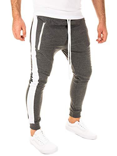 PITTMAN Herren Jogginghose Retro mit Streifen Skinny Fit, Anthrazit/Weiß (0401), XS