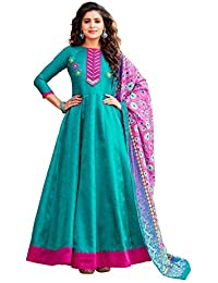 AnK Women's Firozi Banglori & Georgette EmbroideredLong Semi-Stitched Salwar Suit With Printed Dupatta