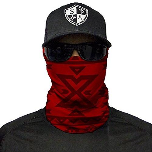 SA Fishing Company Face Shield Sturmhaube Multiunktionstuch Maske Fishing Totenkopf Schal Skull Bandana Gesichtsmaske Halstuch Ski Motorrad Paintball Halloween Maske (Aztec Dark Red)