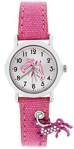 Crystal blue Kinder-Armbanduhr mit funkelndem Anhänger Pferd Textilarmband Analog Quarz rosa 20015 (Anhänger Uhren)