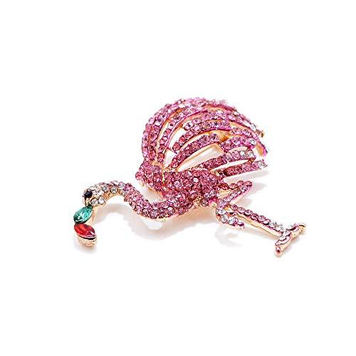 Strass Flomingo Brosche für Frauen Rosa Farbe Tanz Vogel Nadel Ornament Sommer Kleid Zubehör Geschenk (Vogel-ornamente Weihnachten)