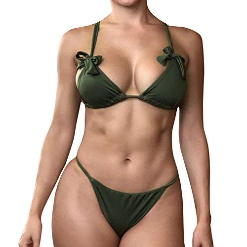 Arc papillon Maillot de bain Lonshell Bandage maillots Solide bikini Set été Plage Vert darmée