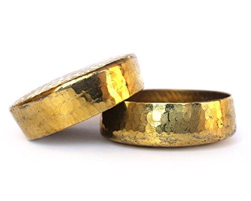 De kulturetm Hand Made reinem Messing Kerze Schüssel-Set von 2-2,5x 0,75DH (Zoll) (Gold) - Messing-2 Kerzen