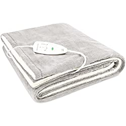 Medisana HB 675 doux et douillet Couverture chauffante, taille XXL taille 200 x 150 cm, avec 4 niveaux de température, blanc/gris, lavable - 60230