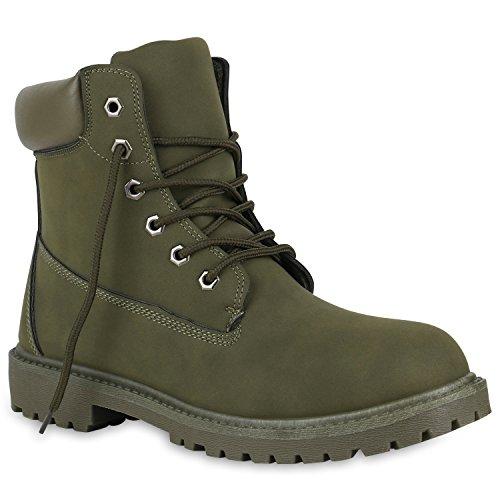 Stiefelparadies Herren Schuhe Worker Boots Bequeme Outdoor Profil Leder-Optik 150851 Dunkelgrün 41 Flandell