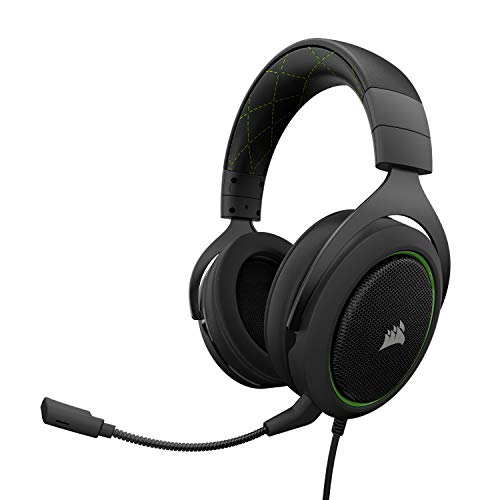 Corsair HS50 Stereo - Auriculares gaming con micrófono desmontable (para PC/PS4/Xbox/Switch/móvil), verde