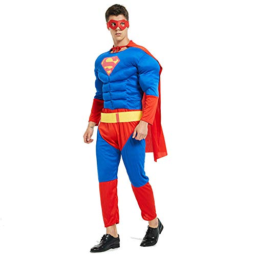 achsene Superhelden Kostüme Herren,Hulk,Captain America,Iron Man,Spiderman Kostüm,Halloween Cosplay Overall Kostüm,Superman-OneSize ()