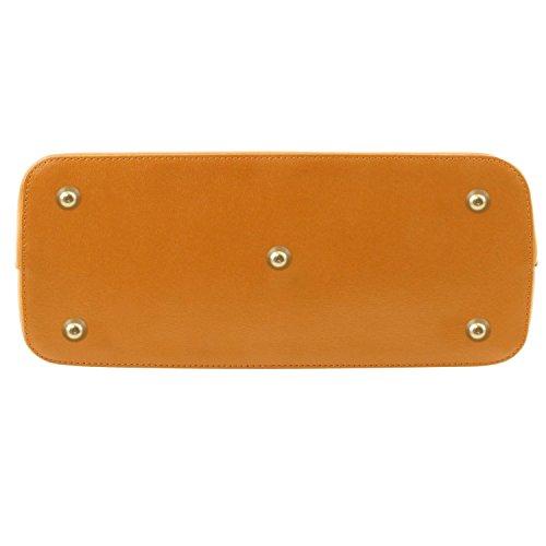 Tuscany Leather - TL KeyLuck - Borsa shopper in pelle Saffiano - Misura piccola Cognac - TL141265/6 Nero