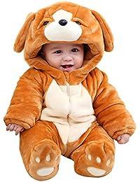 490424d55 LPATTERN Mono de Franela Invierno para Bebés Unisex Mameluco con Capucha Disfraz  de Animales Frutas