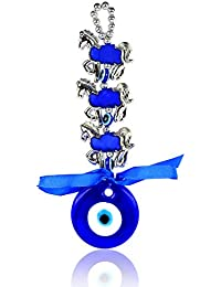 Reiki Crystal Products Hanging 3 Three Horse Evil Eye for Car & Door/Office Hanging Good Luck and Prosperity (Color : Silver & Blue)