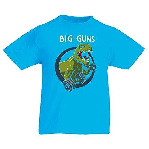 T-shirt pour enfants Train dur - pour l'haltérophilie et pour les squats - fitness, crossfit, perte de poids (9-11 years Bleu clair Multicolore)
