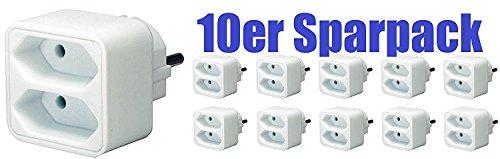 Preisvergleich Produktbild 10er Sparpack Brennenstuhl Adapterstecker Euro 2-fach weiß, 1508030