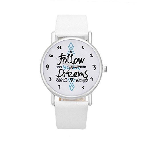Follow Your Dreams Patron Relojes - SODIAL(R)Mujeres Follow Your Dreams Patron PU Relojes de Pulsera (blanco)