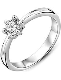 Miore Damen Sterling Silber (925) 6-Prong Solitär Verlobungsring mit Brillantschliff Zirkonia