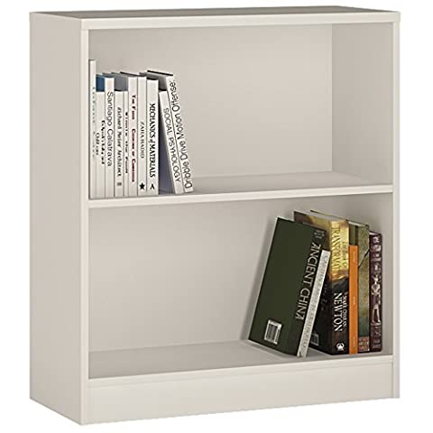 Furniture To Go 4 YOU Low Wide Bookcase with Melamine, 74 x 85.5 x 34.6 cm, Pearl White