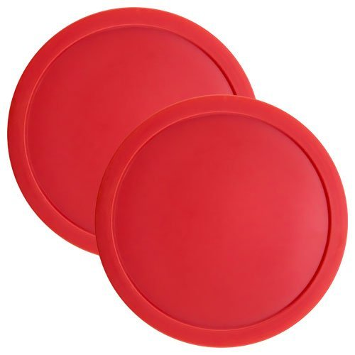 Air Puck Red Hockey (Set of Two Large Red 3 1/4 Inch Air Hockey Pucks for Full Size Air Hockey Tables by Brybelly by Brybelly)