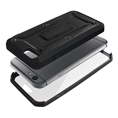 """xhorizon® Für iPhone 6 (4.7"""") Schwerlast Doppelschicht Stoßfest Gehäuse Hülle / Weich HybridCase Hülle + XHORIZON Stift & Reinigungstuch Schwarz"""