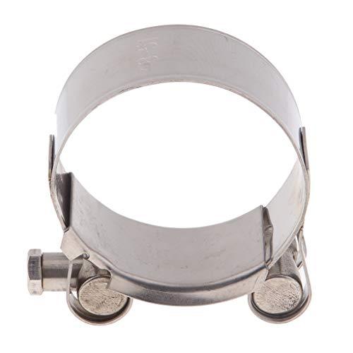 H HILABEE Abrazadera de Tubo de Escape Soporte de Silenciador de Acero Inoxidable, Fácil de Instalación - Color plata 48-51mm