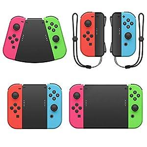 FASTSNAIL Griffverbinder für Nintendo Switch Joy Con, 5in1 Griff-Set Zubehör – Joycon Griffe mit Handgelenkschlaufen