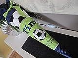 #97 Fussball grün-blau Schultüte Stoff + Papprohling + als Kissen verwendbar