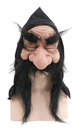 Halloween Old Herren Verkleidung Kostümparty Wichtel Zwerg Goblin Maske Mit Kaputze & Bart - Schwarz, One size
