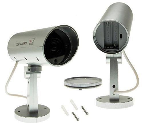 Adapter-Universe® Überwachungskamera Attrappe Dummy Bewegungsmelder Fake Cam IR LED Einbruchschutz